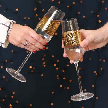 Set of 2 Gold Leaf Champagne Flutes
