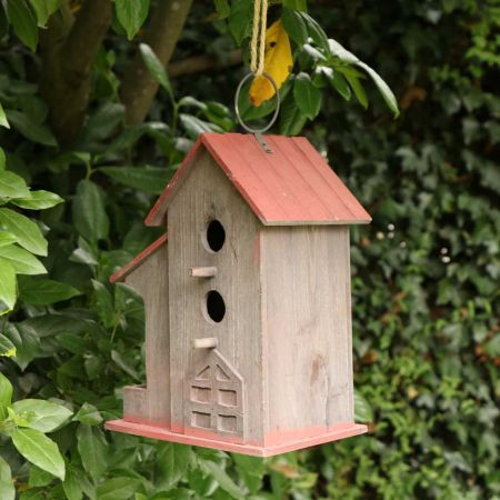 Wooden Bird House with Seed Tray