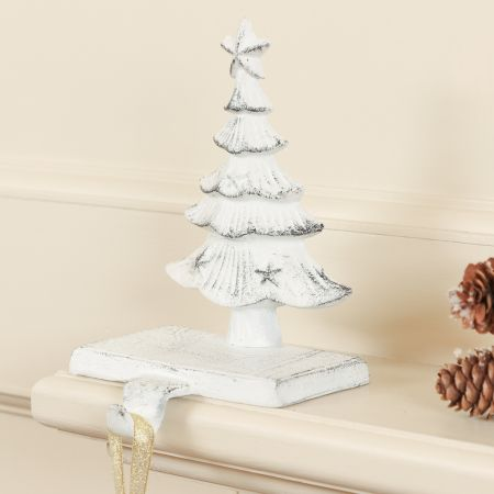 Cast Iron White Christmas Tree Stocking Holder