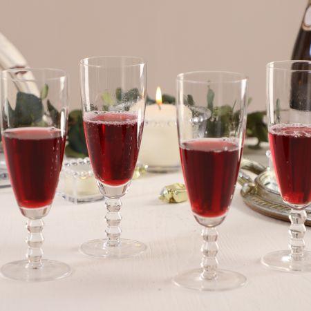 Set of 4 Bella Perle Beaded Stem Champagne Flutes