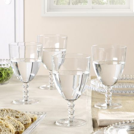 beaded stem clear wine glass