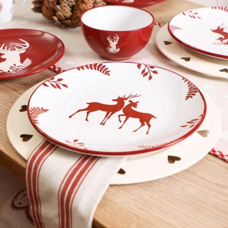 Festive White Stoneware Reindeer Dinner Plate
