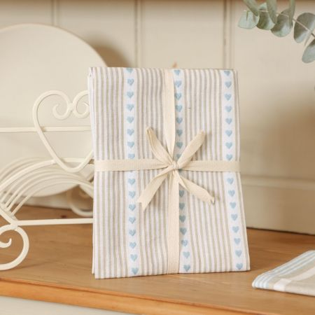 Blue, Beige and White Stripes and Heart Tea Towel