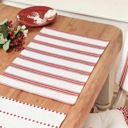 Red Stripe Fabric Place Mats