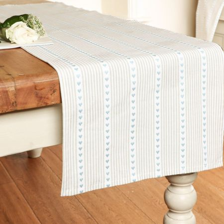 Blue Heart French Country Table Runner