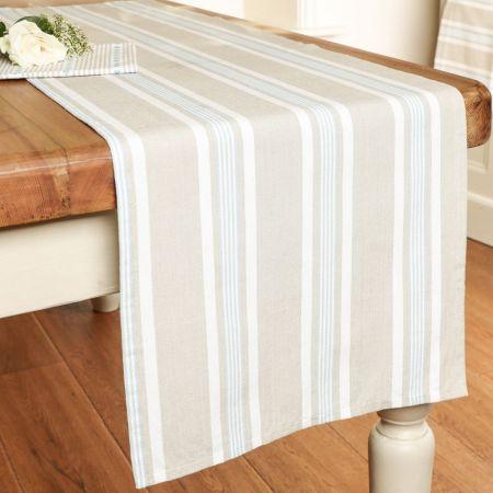 Striped Blue Table Runner
