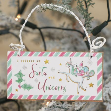 Santa and Unicorn Sign