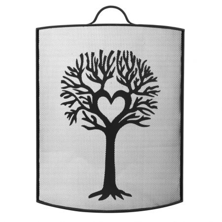 Woodland Tree Curved Black Fire Screen
