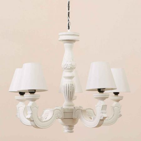 Classical Carved Five Pillar Chandelier