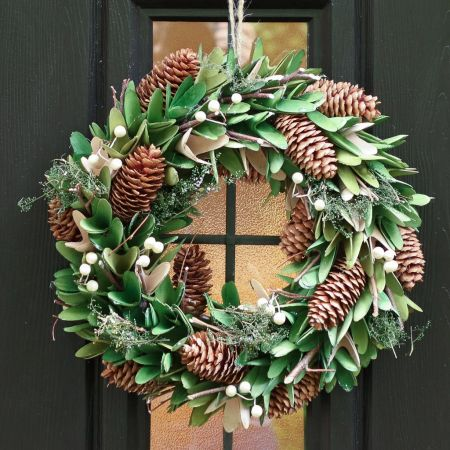 Pinecone and Mistletoe Forest Green Wreath