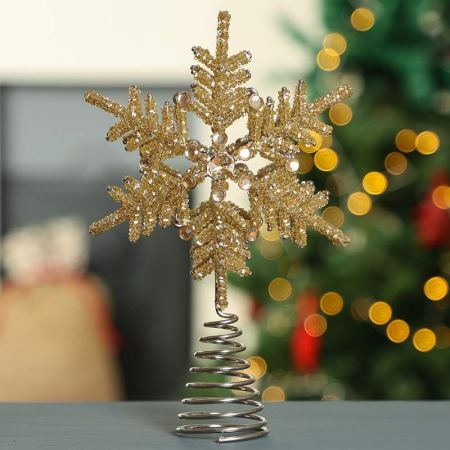 Gold Snowflake Tree Topper Decoration