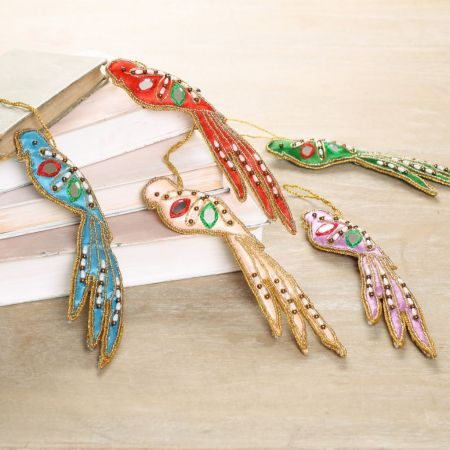 Set of 5 Hanging Bird Decorations