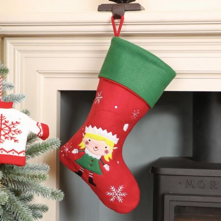 Girl's Elf Christmas Stocking
