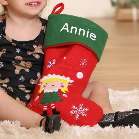 Girl's Personalised Elf Christmas Stocking