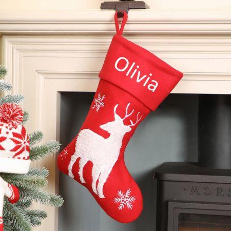 Red Reindeer Christmas Stocking