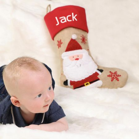 Jute Santa Christmas Stocking