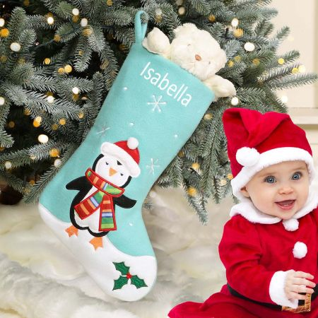 Personalised Baby's First Penguin Christmas Stocking