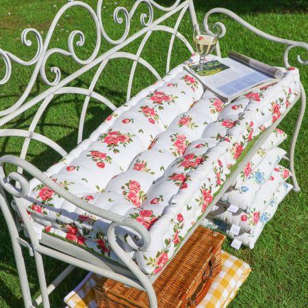 Helmsley Blush Floral Print Vintage Bench Cushion