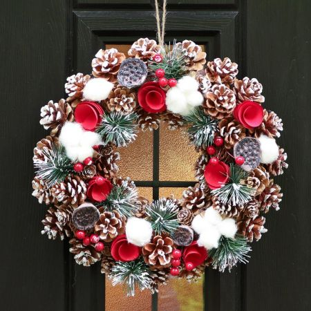 Winter Snow Pinecone and Roses Wreath