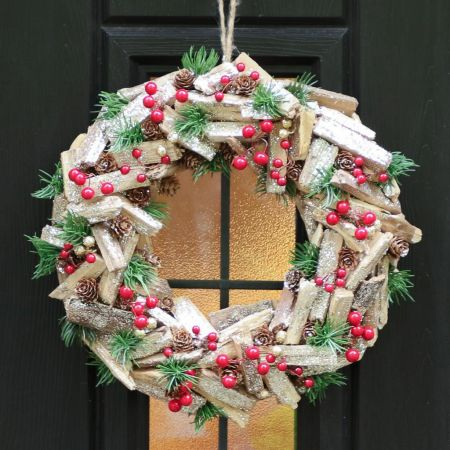 Berries and Fir Sprigs Door Decor
