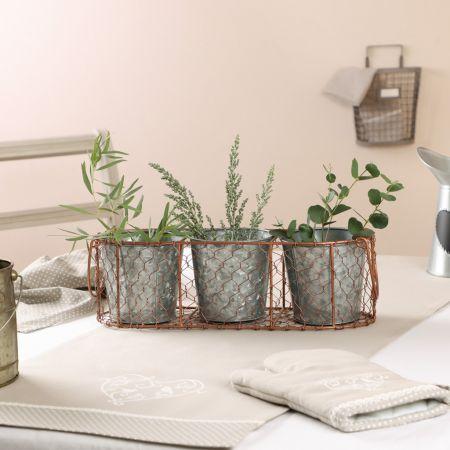 Set of 3 Zinc Plant Pots with Copper Wire Basket