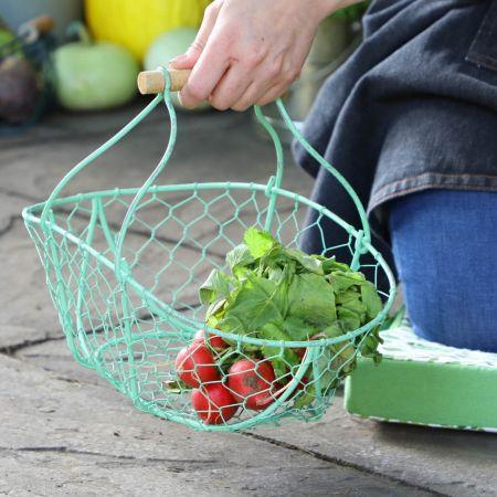 Handwoven Green Chickenwire Trug