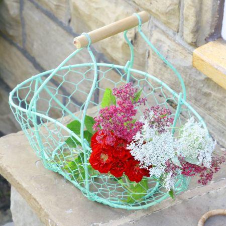 Green Wire Garden Flower Picking Basket