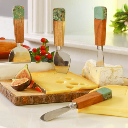 Green and Copper Cheese Knives