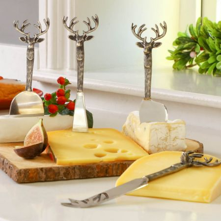 Stag Head Cheese Knife Set