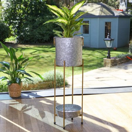 Galvanized Zinc Tall Planter