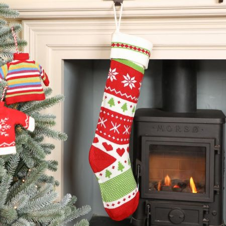 Traditional Red Fair Isle Christmas Stocking