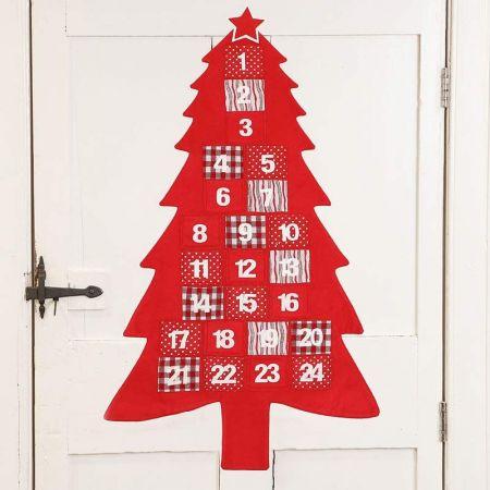 Red Christmas Tree Fabric Advent Calendar