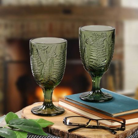 Set of 2 Green Short Stemmed Tinted Glasses