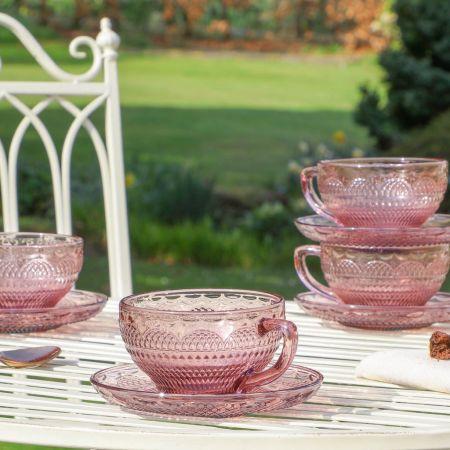 Pink Glass mugs and saucers