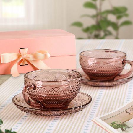 Vintage Pink Teacup & Saucers Gift Set