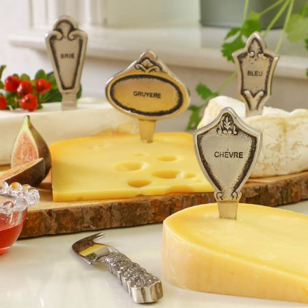 Set of 4 Silver French Cheese Markers and Cheese Knife