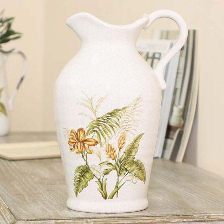 Botanical White Ceramic Jug Vase