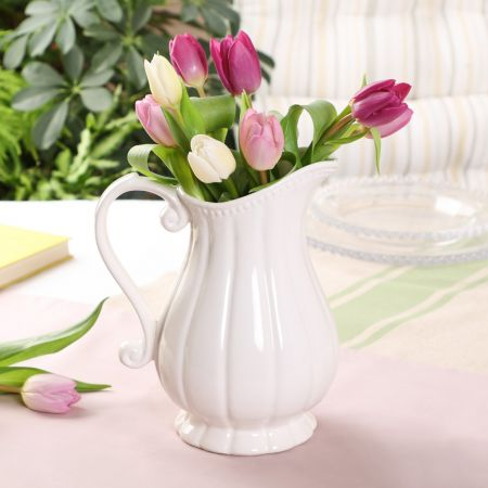 Elegant Ceramic Fluted White Jug Vase