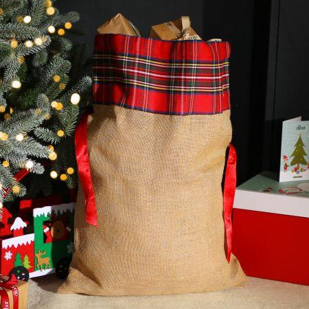 Tartan Jute Christmas Gift Sack