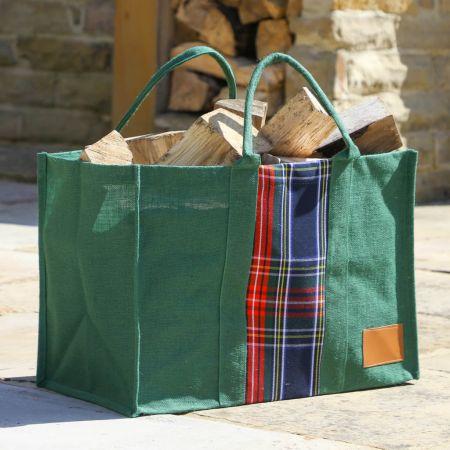 Green Tartan Log Bag