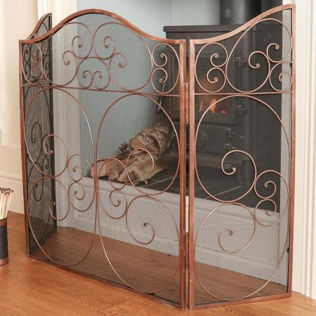 Copper Three Panel Fireplace Screen