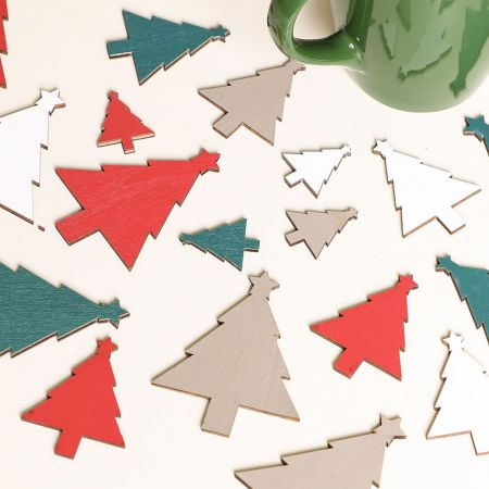 Scandi Wooden Christmas Tree Table Scatters