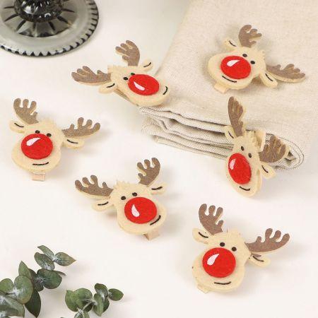 Set of 6 Felt Reindeer Christmas Pegs