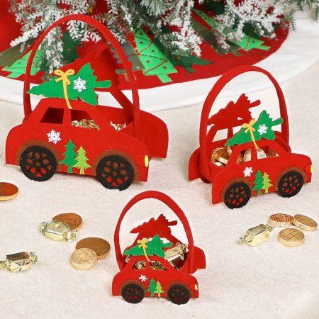 Set of 3 Cars felt gift bags