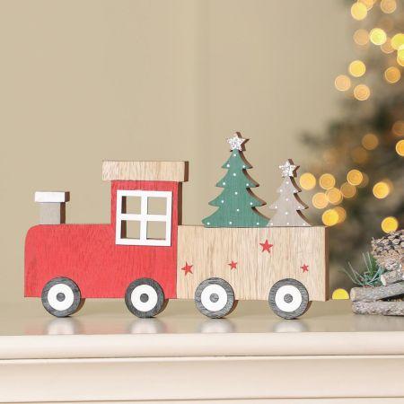 Wooden Christmas Train Decoration