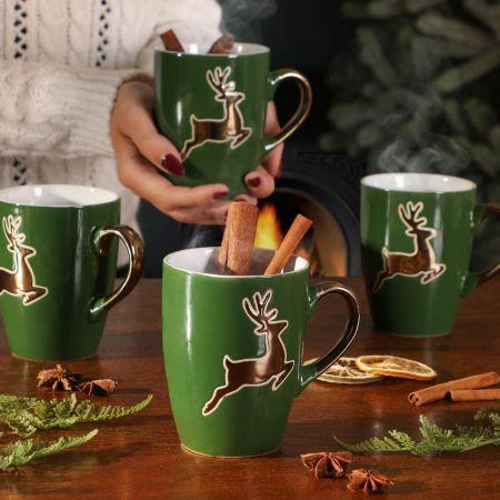Set of Four Forest Green Prancing Reindeer Mulled Wine Mugs