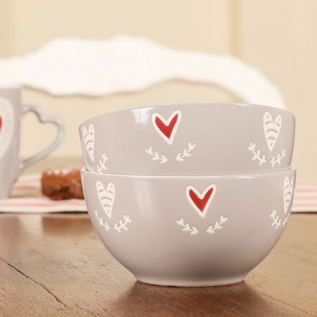 Set of 2 Country Heart Bowls