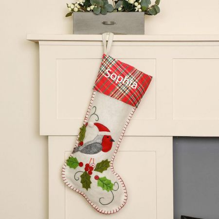 Personalised Robin Christmas Stocking