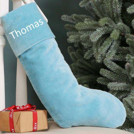 Baby Blue Velvet Christmas Stocking
