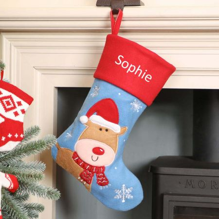 Personalised Reindeer Children's Christmas Stocking